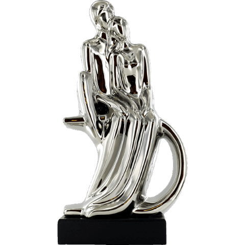 Abstract Art Couple Sitting Silver Ceramic Sculpture